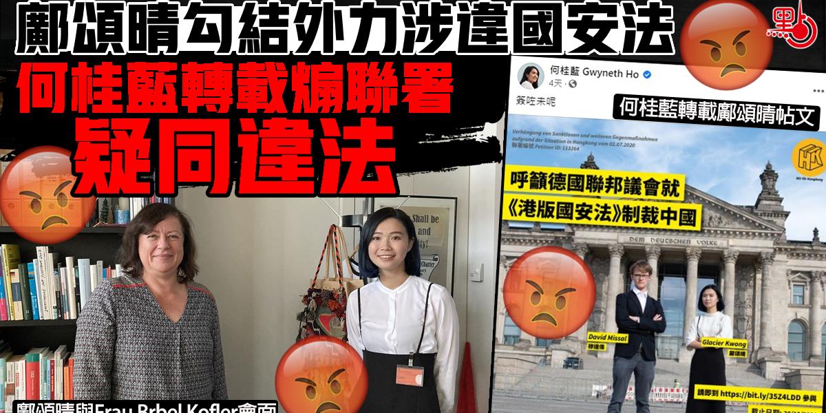 鄺頌晴勾結外力涉違國安法 何桂藍轉載煽聯署疑同違法