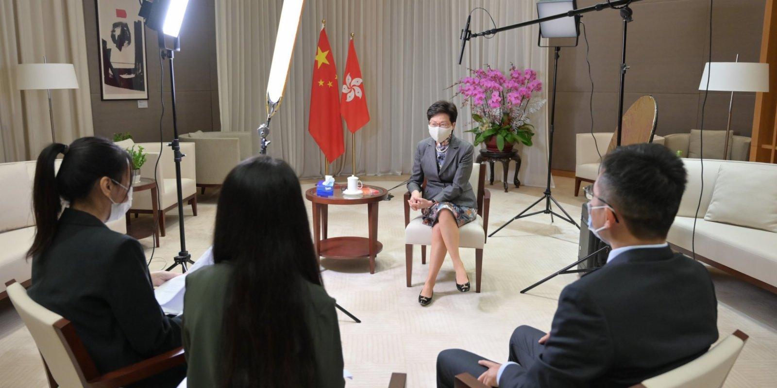 林鄭:國安法令市民重享自由人權 外國「制裁」應回頭是岸
