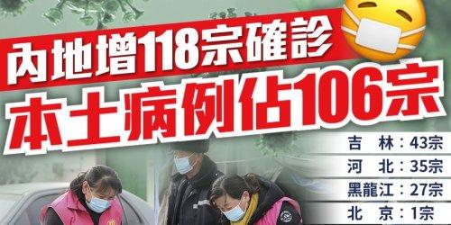 內地增118宗確診 本土病例佔106宗