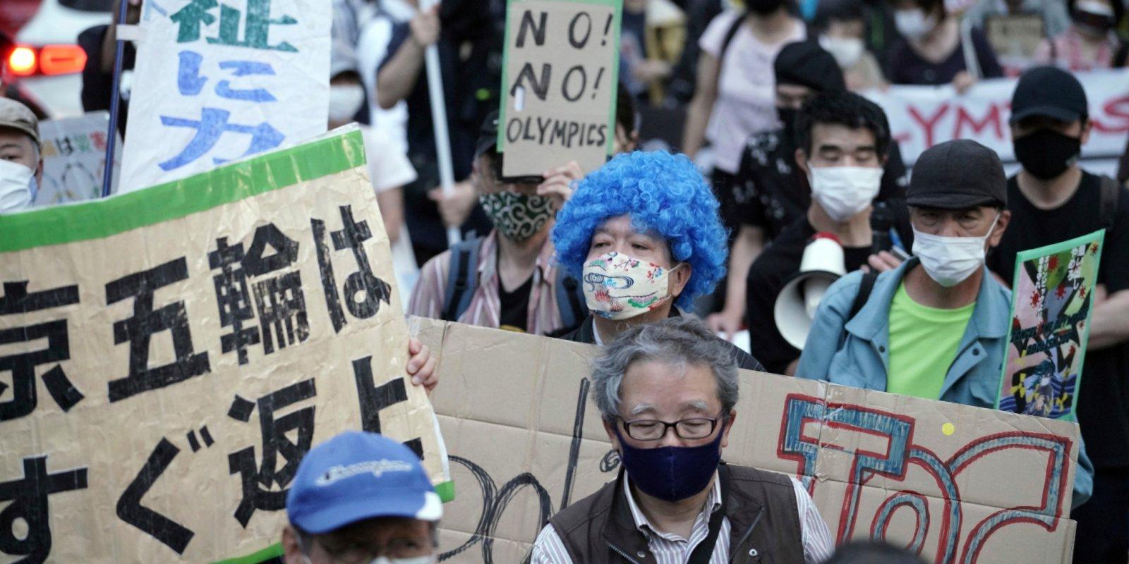 緊急宣言期間辦奧運測試賽 東京百人遊行抗議