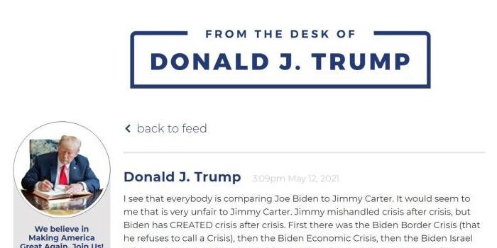 特朗普網站上炮轟拜登  稱其為「美國史上最糟糕」