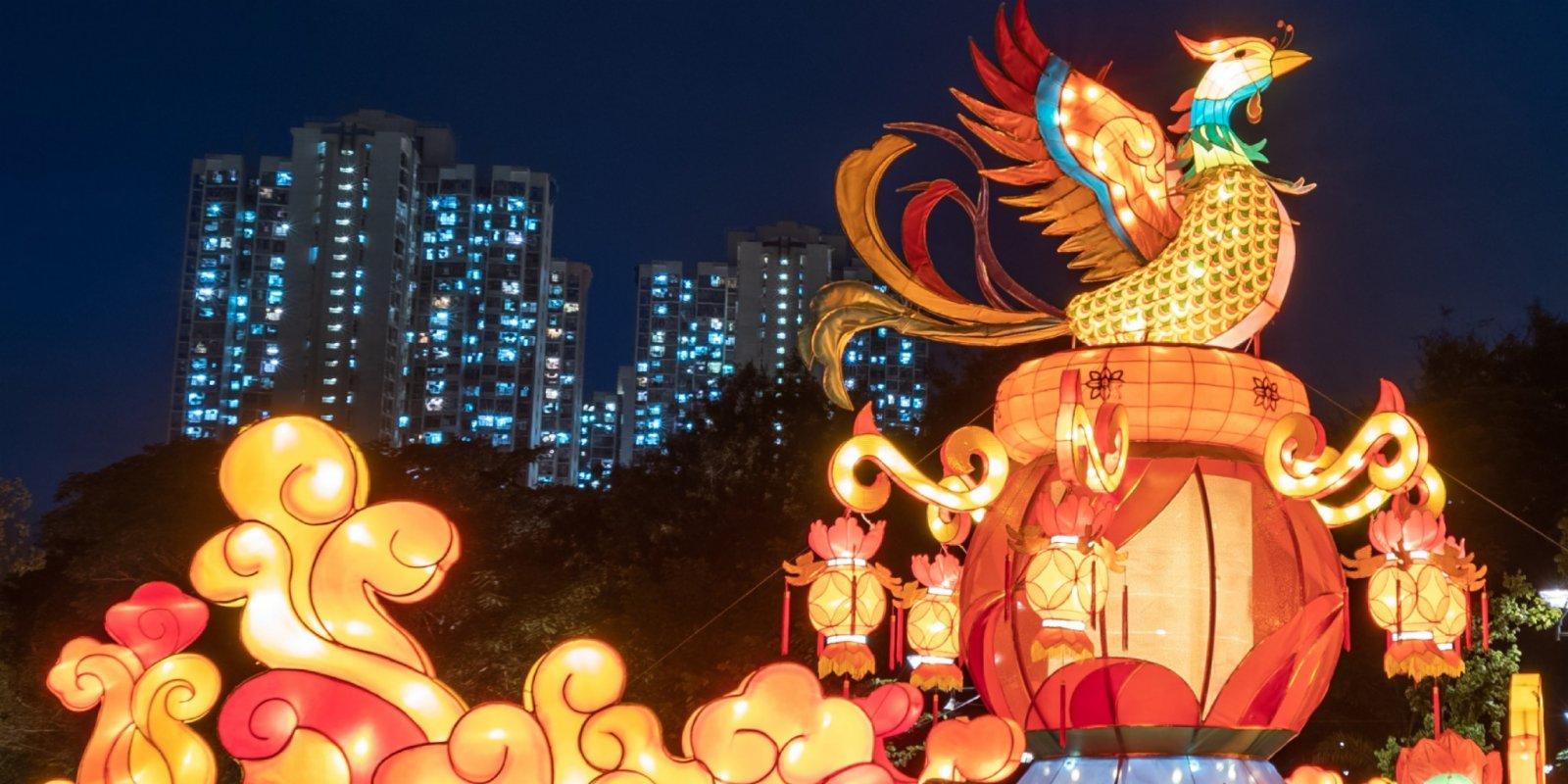 Photos | Lantern displays enliven HK parks to mark Mid-Autumn Festival