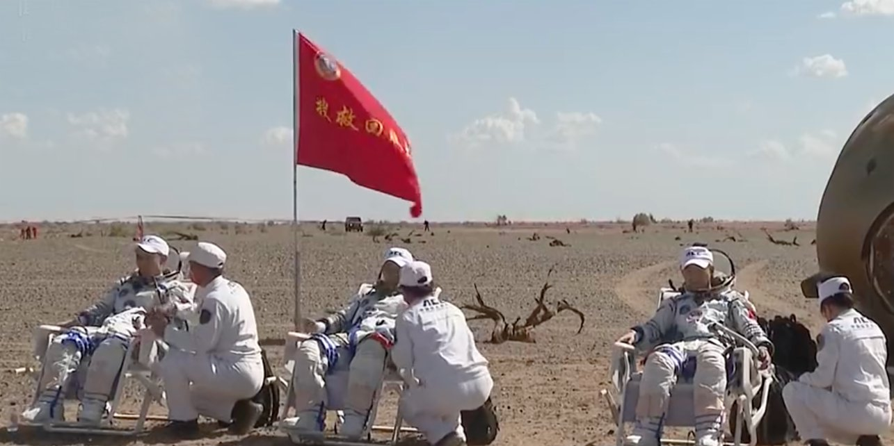 China completes three-month manned mission, as three astronauts return to Earth safely