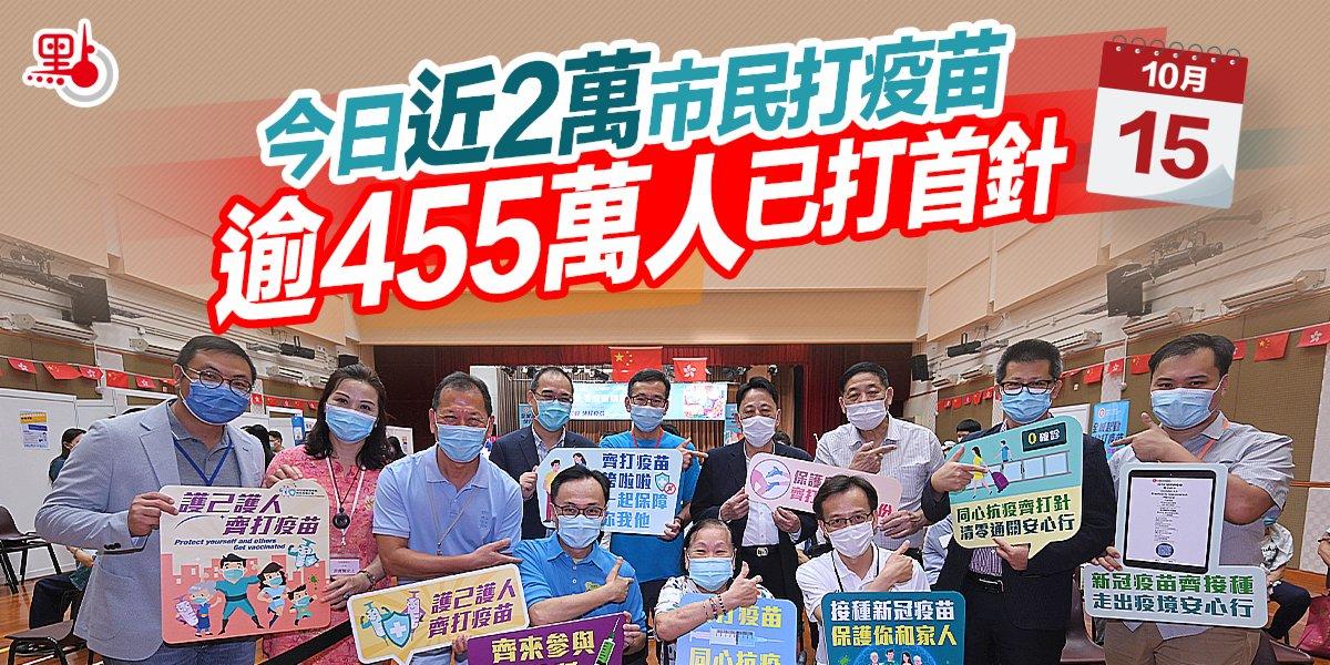 今日近2萬市民打疫苗 逾455萬人已打首針